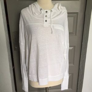 Eileen Fisher White 100% Linen Pull-Over Hoodie